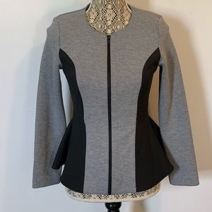TOPSHOP Scuba Peplum Jacket Black/Grey 6
